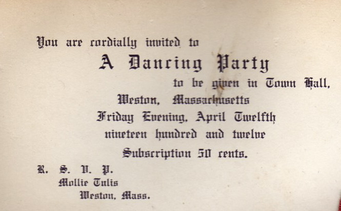 1912 Dancing Party Invitation