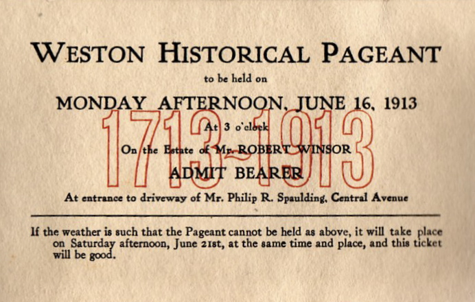 Ticket to Weston Historical Pageant 1913