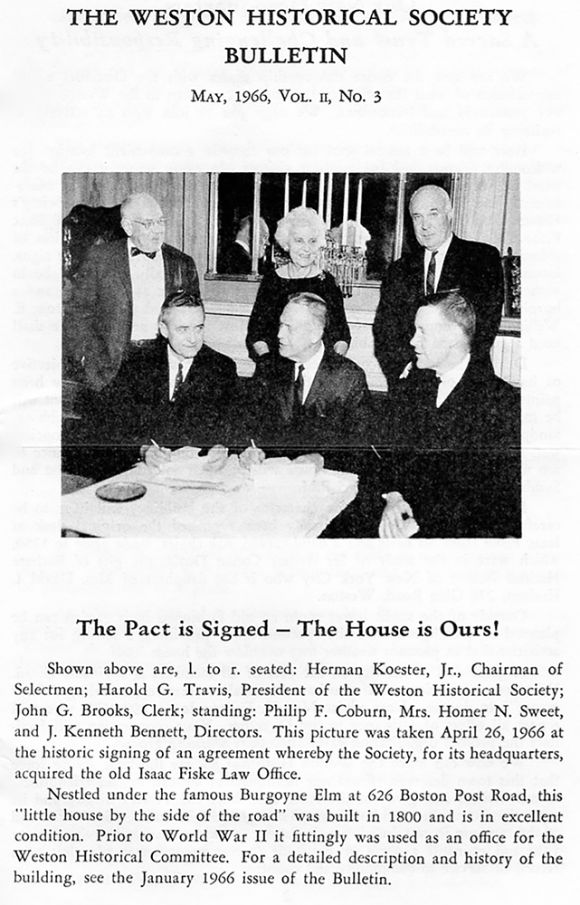 "Cover of WHS Bulletin, May 1966, Vol. II, No. 3, with article titled ""The Pact is Signed - the House is Ours!"", accompanied by photo of the signing"