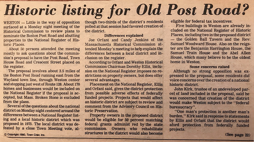 "Newspaper clipping from 1980 titled ""Historic listing for Old Post Road?"""