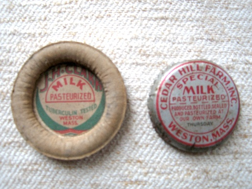 JH Clark and Cedar Hill Dairy bottle caps