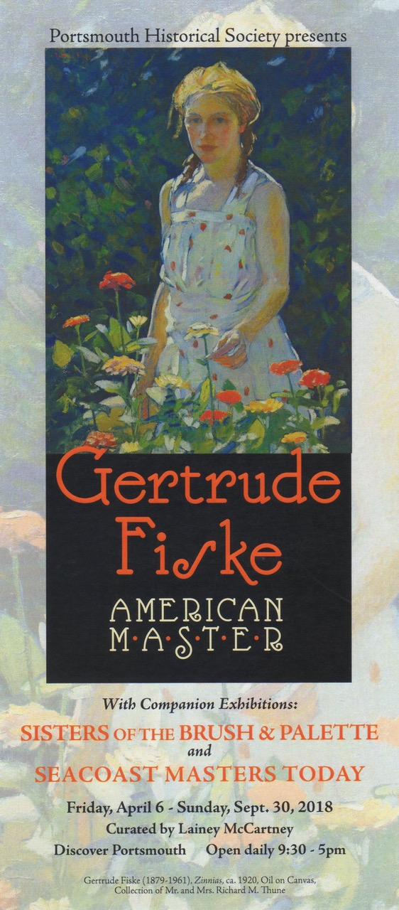 Poster for exhibit, labeled: Portsmouth Historical Society presents: Gertrude Fiske, American Master
