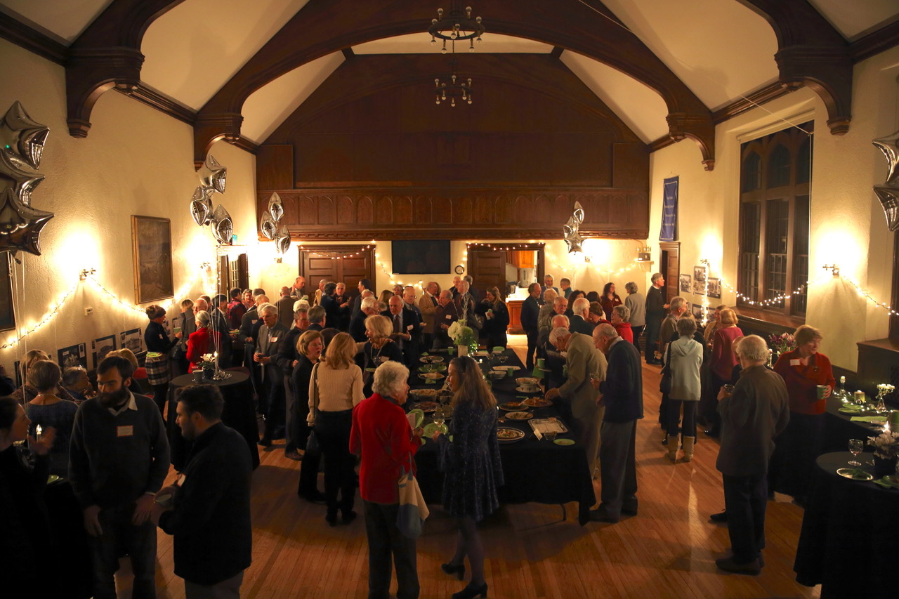 bird's-eye view of party in Parish Hall
