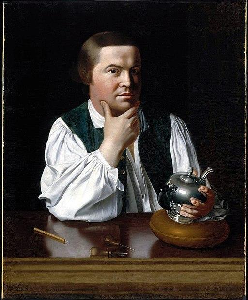 portrait of Paul Revere holding silver teapot