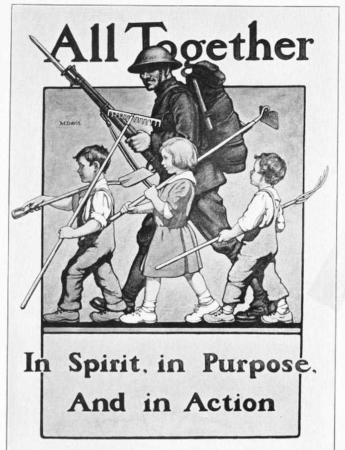 "World War I poster with soldier and children, captioned ""All Together in Spirit, in Purpose, And in Action"""